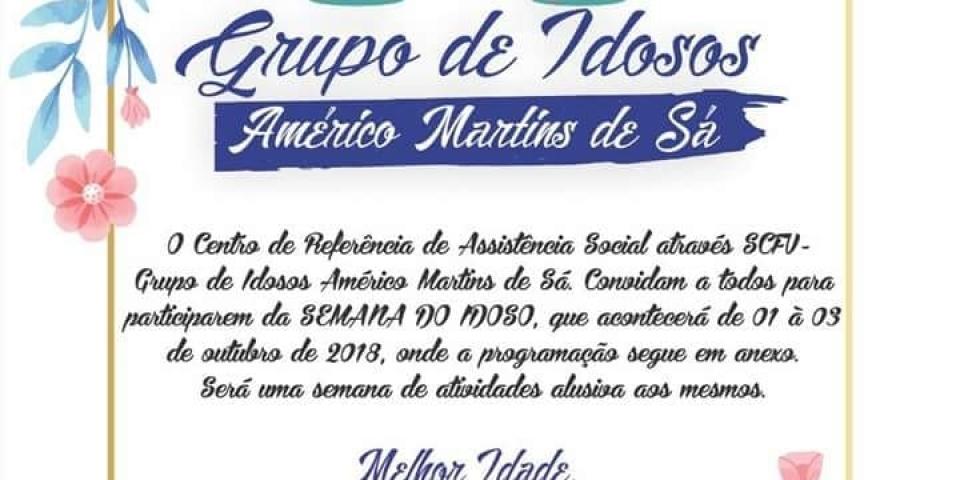 Prefeitura divulga programaçãoem comemoração ao dia do Idoso.