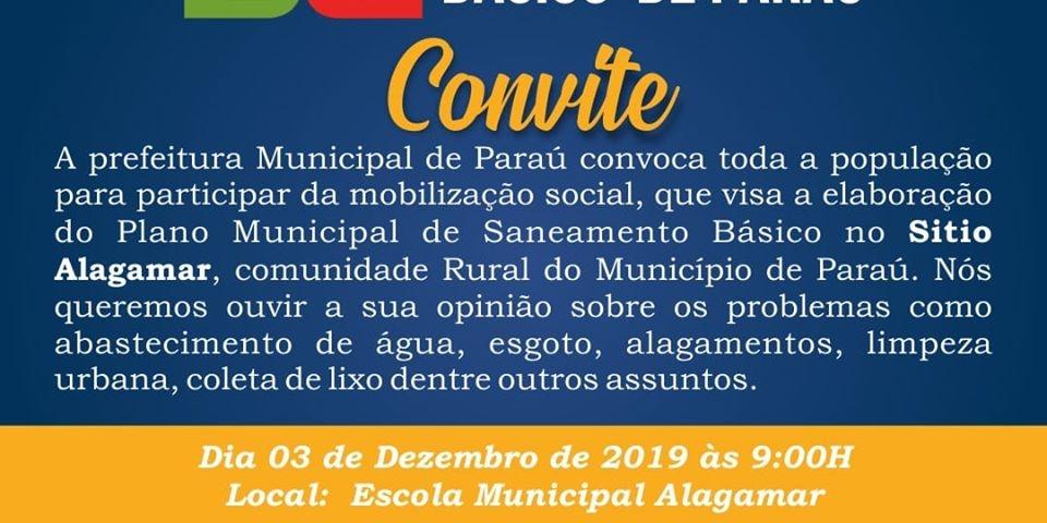 A Prefeitura convoca a população para a elaboração do plano municipal de saneamento básico.