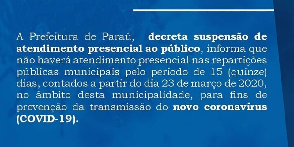 Prefeitura decreta suspensão de atendimento presencial ao público.